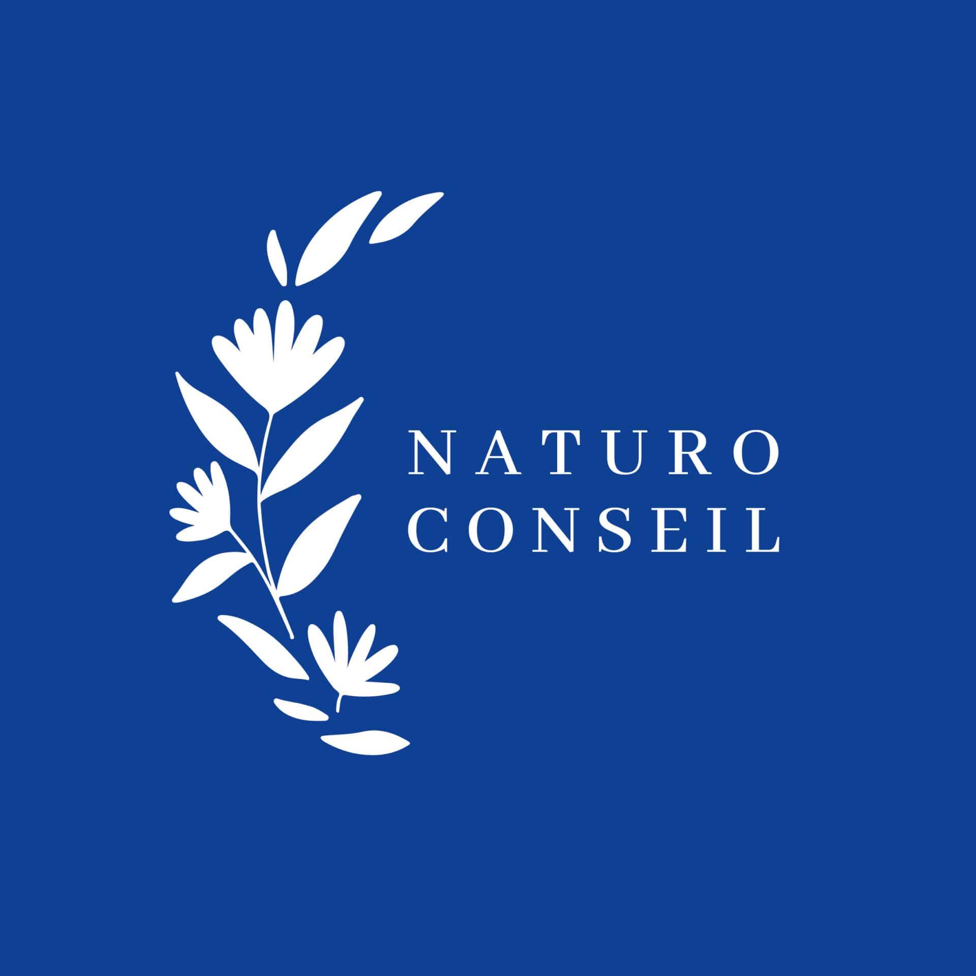 Logotype naturopathe avec graphismes végétaux sur fond bleu