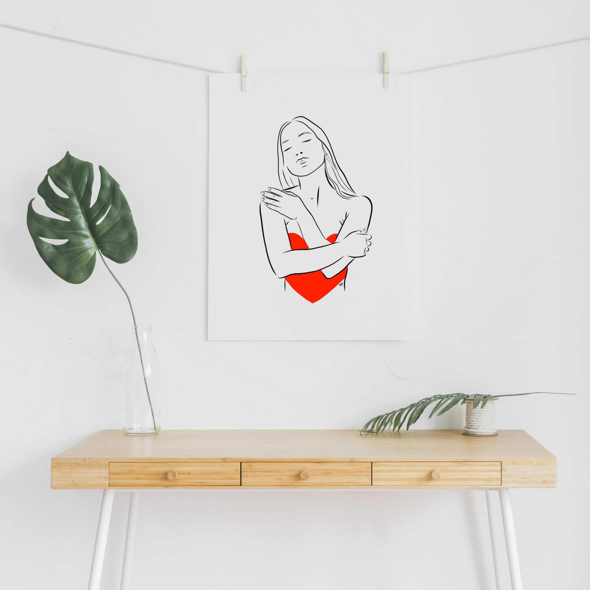 Illustration graphique de femme avec un cœur dans les bras