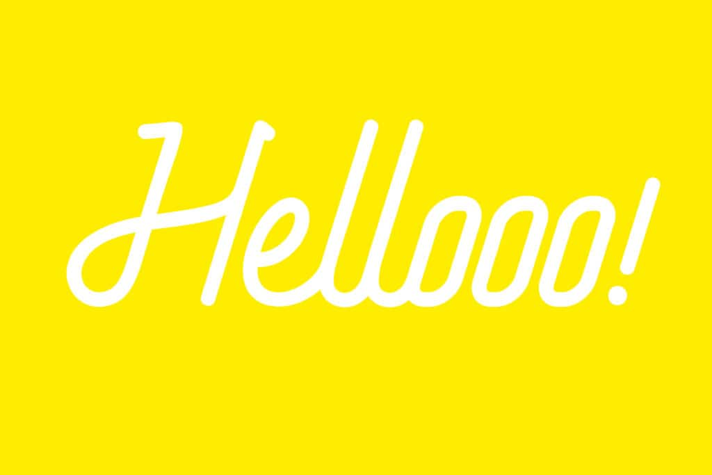 Typographie graphique hello blanche sur fond jaune