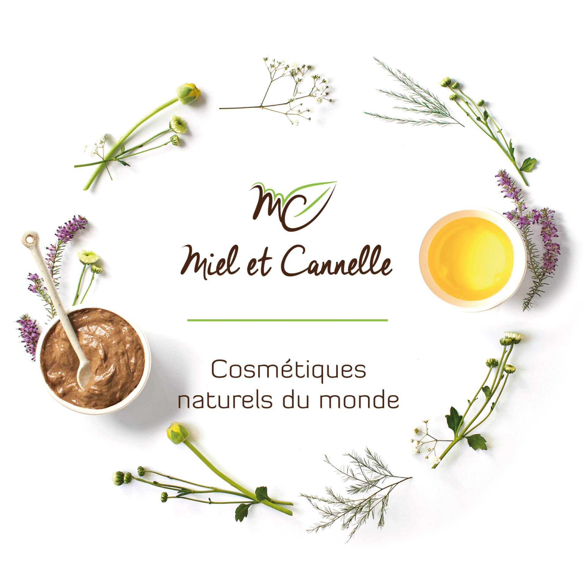 Création graphique gamme cosmétiques bio Miel et Cannelle